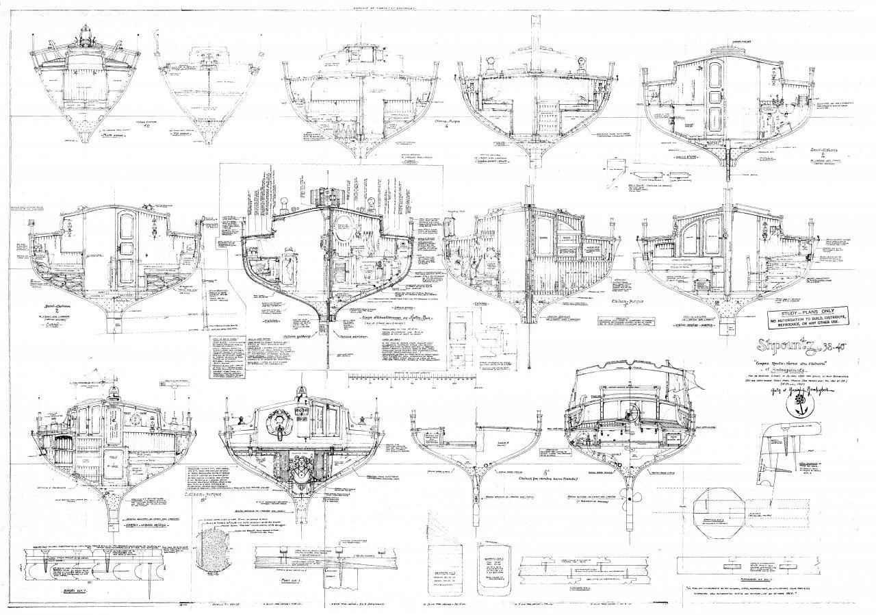 Shpountz 38-40, plans de coupes par Daniel Z. Bombigher