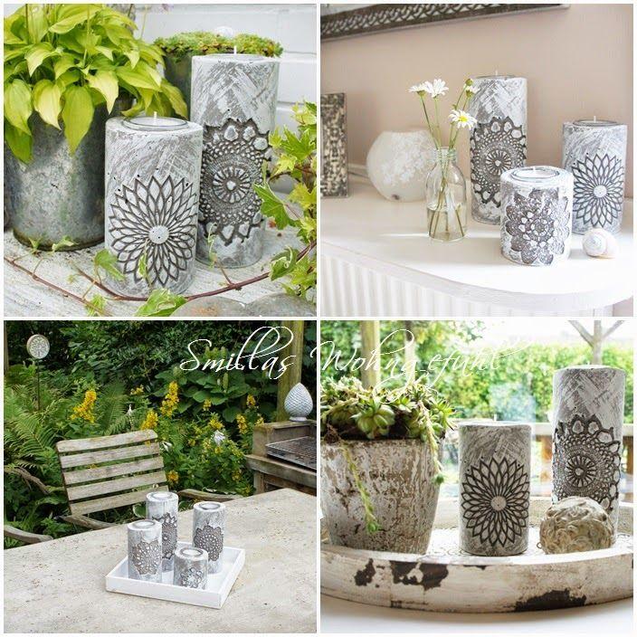 diy concrete candle holder kerzenst nder aus zement wohnideen pinterest basteln. Black Bedroom Furniture Sets. Home Design Ideas