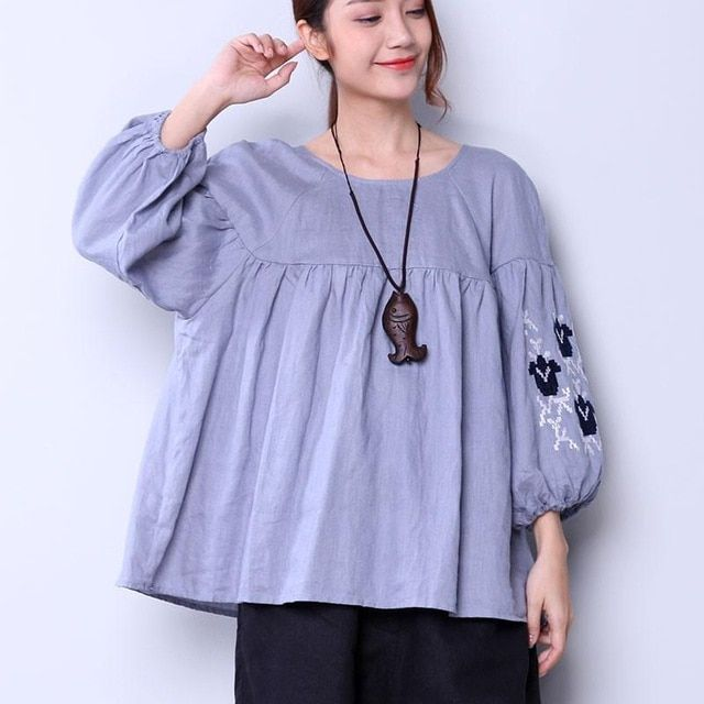 30f797be3eb236 Casual Embroidered Blouses Elegant 2018 Women Autumn New Shirts Fashion Long  Sleeve Back holes Lacing Loose Folded Tops  blouses  shirts  shirt  new ...