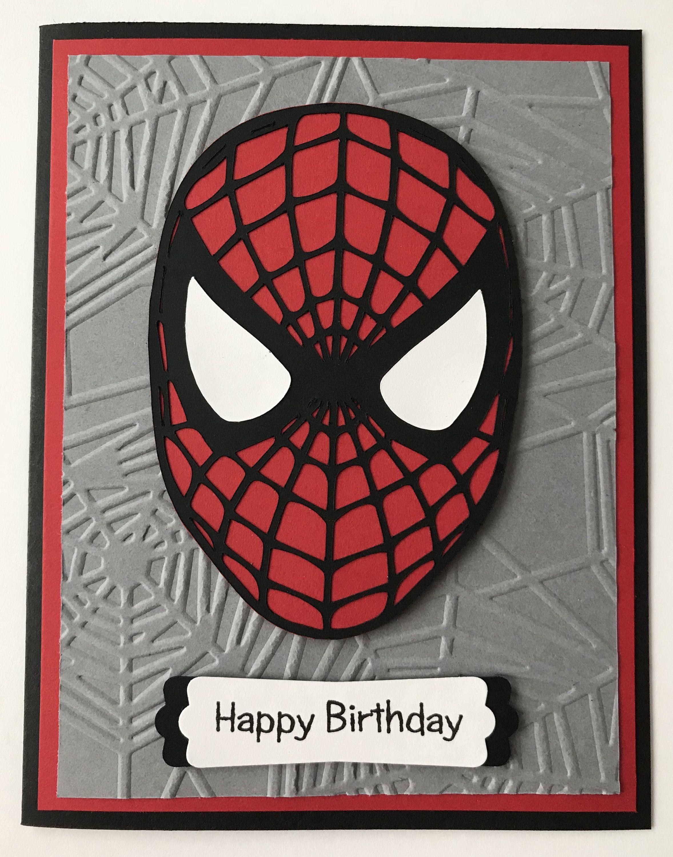 Handmade Spiderman Card A2 Web Super Hero Etsy Spiderman Cards Birthday Cards For Boys Kids Birthday Cards