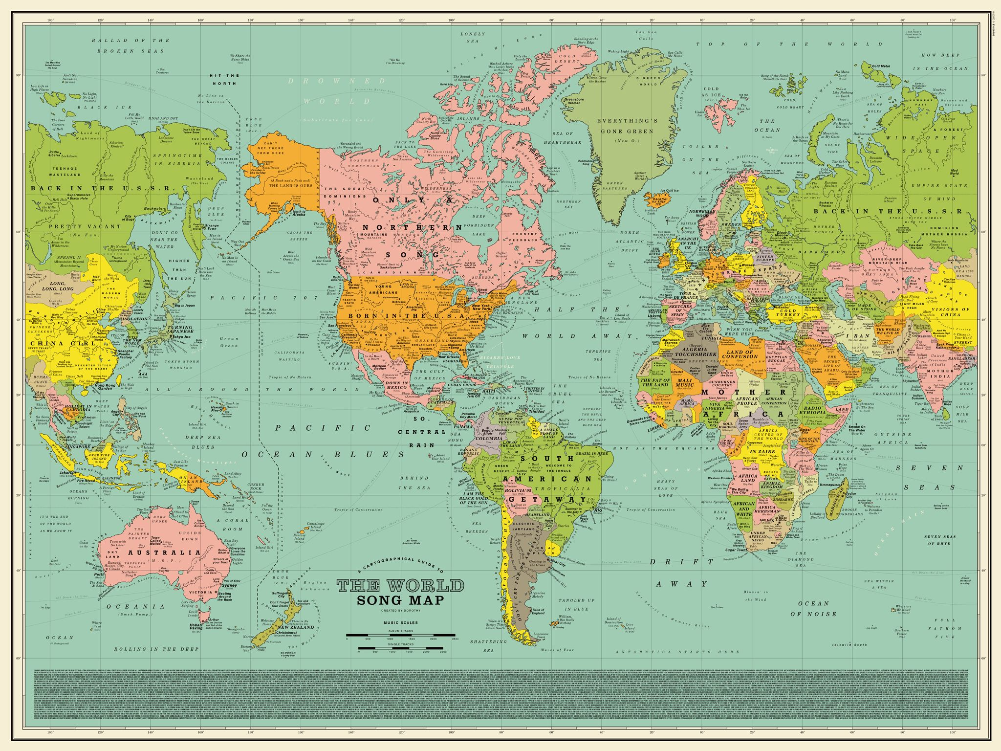 World Song Map, A Detailed Poster That Imagines the World Map Made ...