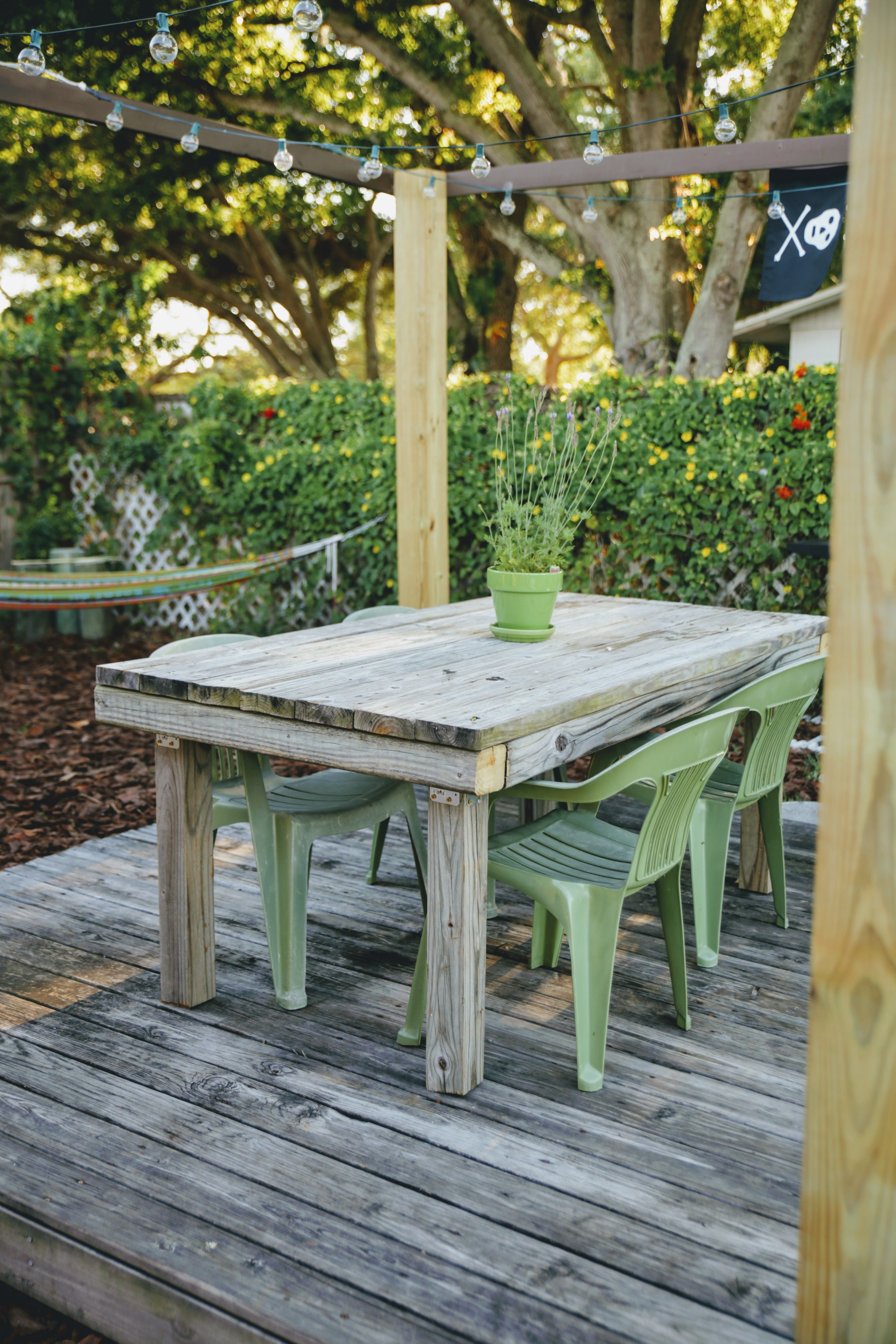 diy outdoor dining table made from reclaimed picnic table