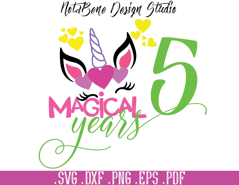 Birthday Unicorn SVG Magical 5 Years Unicorn Cute Print T