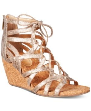edb8399b52f8 Kenneth Cole Reaction Women s Cake Pop Gladiator Lace-Up Wedge Sandals -  Gold 9.5M