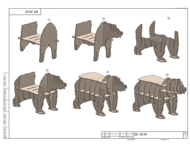 Cnc Cutting Template For Plywood Bear Bookshelf 3d Model