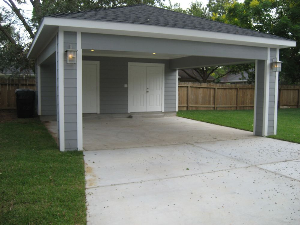 Carport with storage door to kitchen and storage on sides for Garage with carport designs