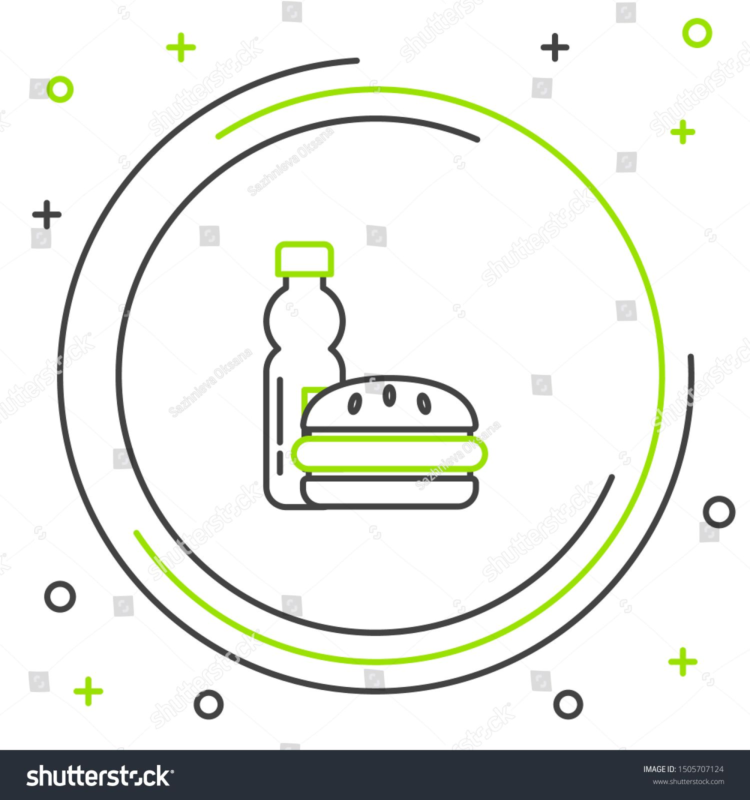 Black and green line Bottle of water and burger icon isolated on white background. Soda aqua drink sign. Hamburger, cheeseburger sandwich. Fast food menu. Colorful outline concept. Vector Illustration #Sponsored , #affiliate, #white#isolated#icon#aqua