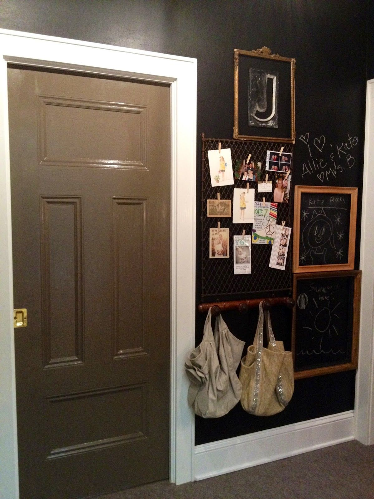Chalkboard Wall With Frames Added, Wire Rack For Hanging Notes