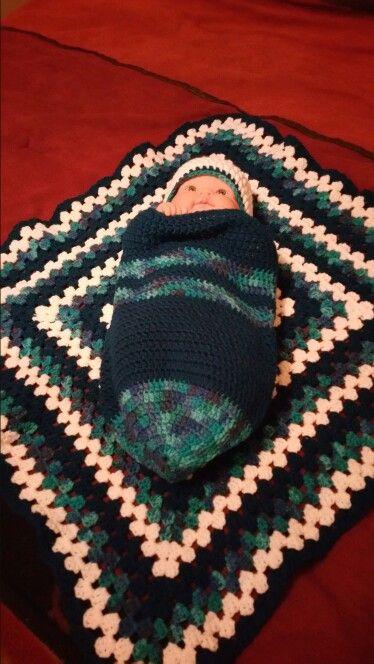Baby boy cuddle sack and cap | crocheted items | Pinterest | Bolsas ...
