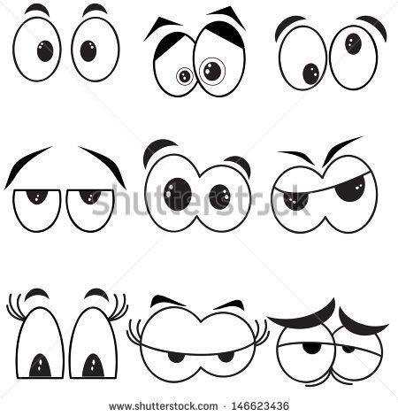Eyes Set Ojos De Caricatura Rostros De Dibujos Animados Ojos