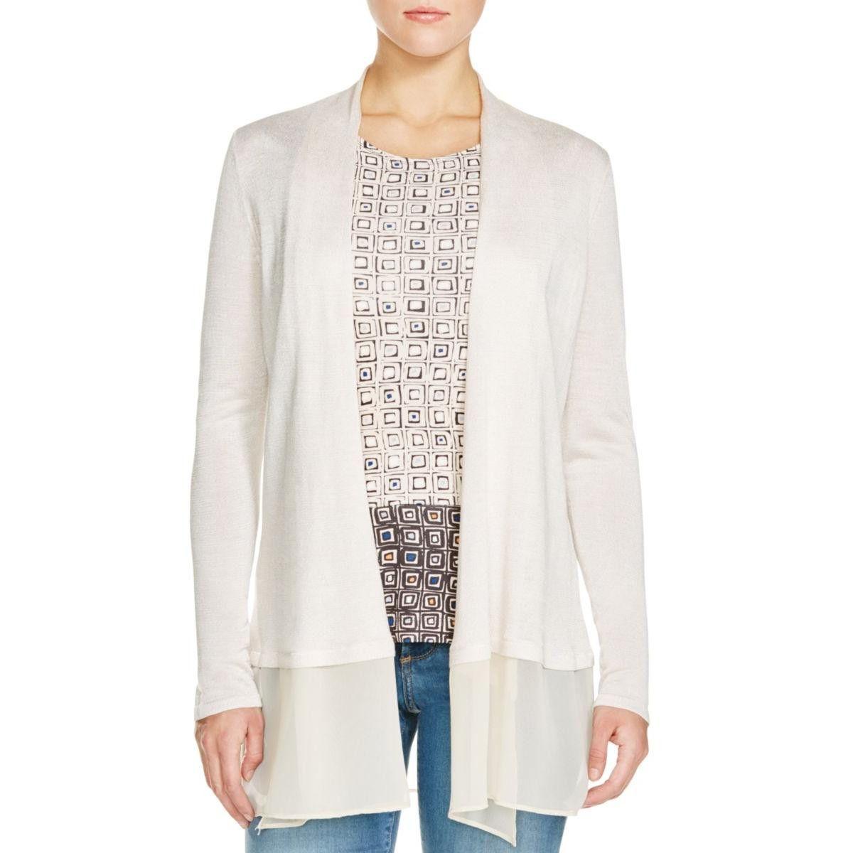 Womens Silk Blend Chiffon Trim Cardigan Sweater | Products ...