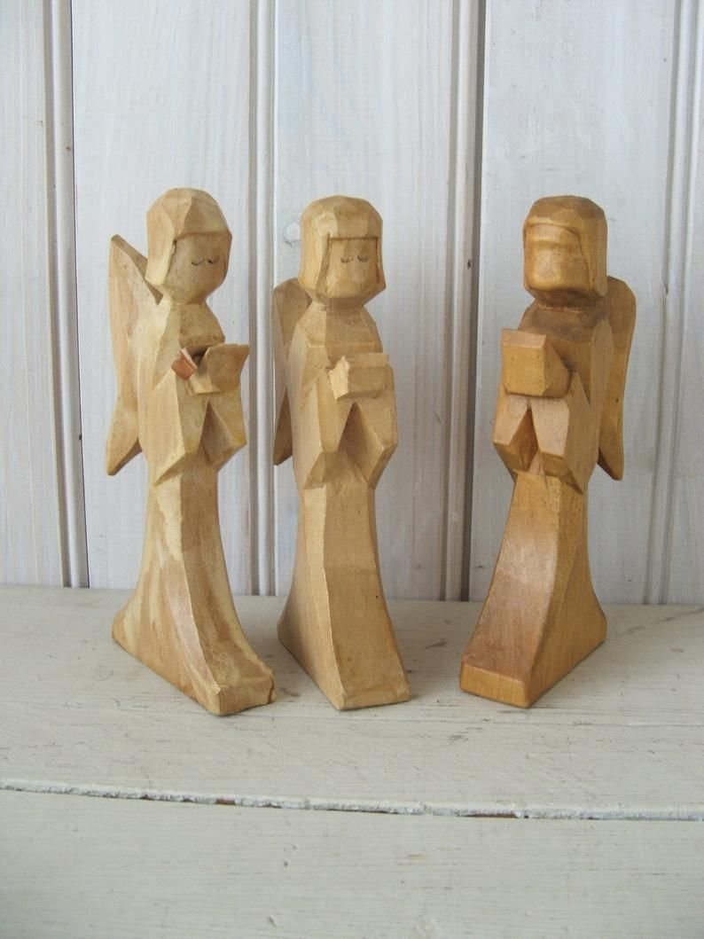 3 Vintage Hand Carved Wooden Christmas Angels Primitive Carolers Christmas Angels Wooden Christmas Ornaments Carving