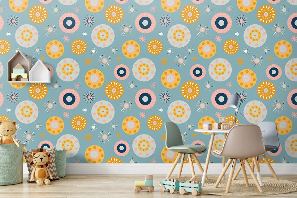 Colorful Geometric Wallpaper Peel And Stick Nursery Wall Mural Etsy Geometric Wallpaper Peel And Stick Nursery Wall Murals Geometric Wallpaper