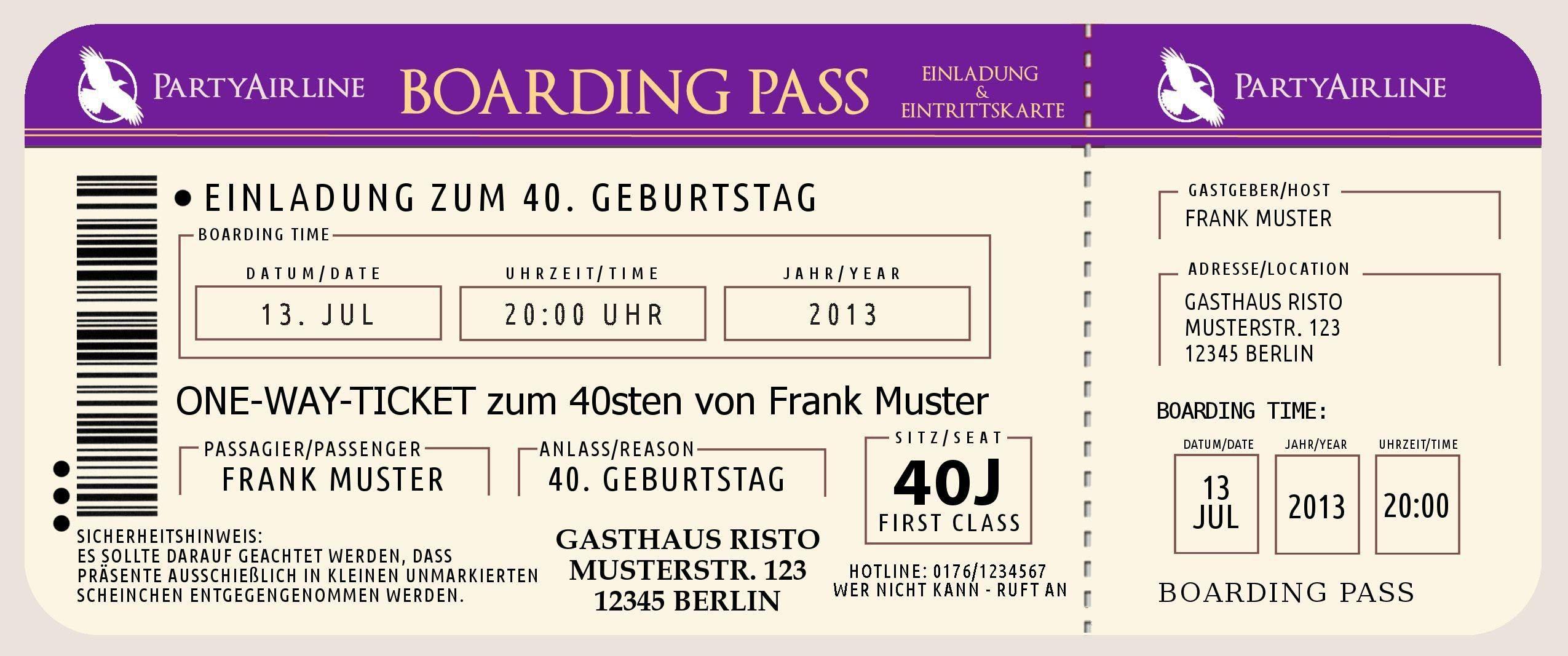 einladung geburtstag : einladungen 43 geburtstag - Geburstag ... - Einladungskarten Vip Ticket