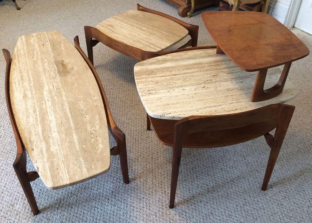 Italian Travertine Marble Coffee Table Set Of 3 Mid Century