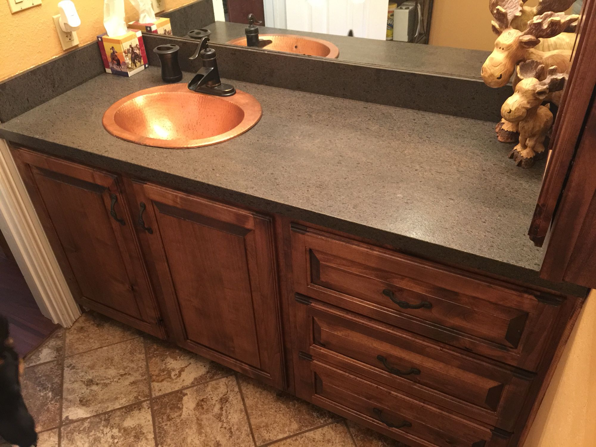 Custom Bathroom Vanity Wood Knotty Alder Stain Early American
