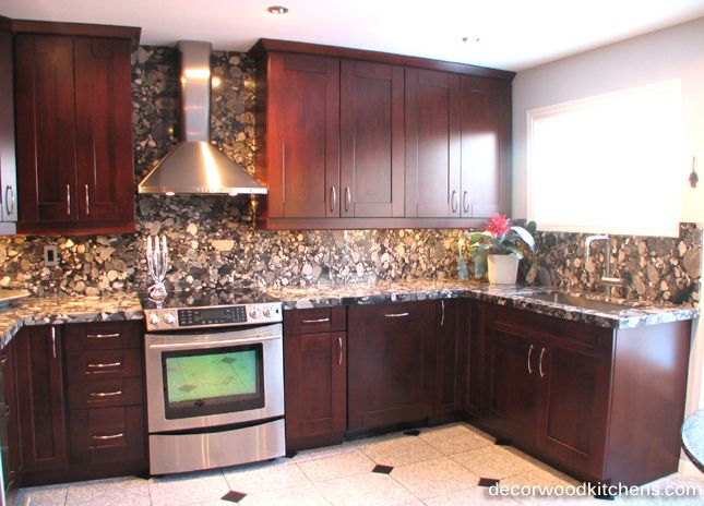 Medium Sized Kitchen Burgundy Stained Cabinets Wide Framed