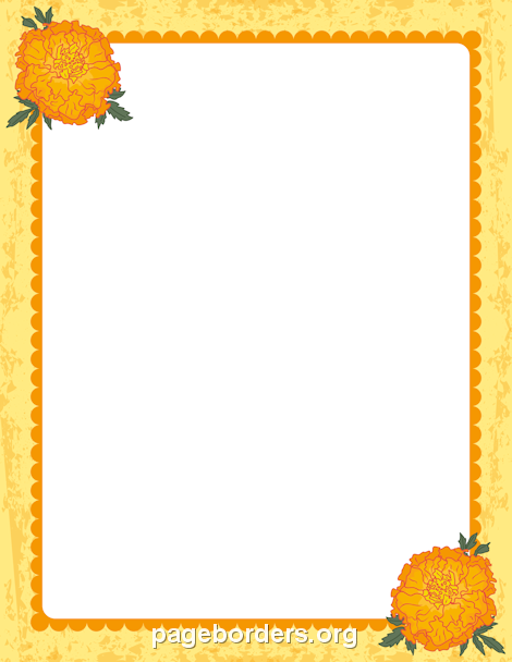 Printable marigold border. Use the border in Microsoft Word or other programs for