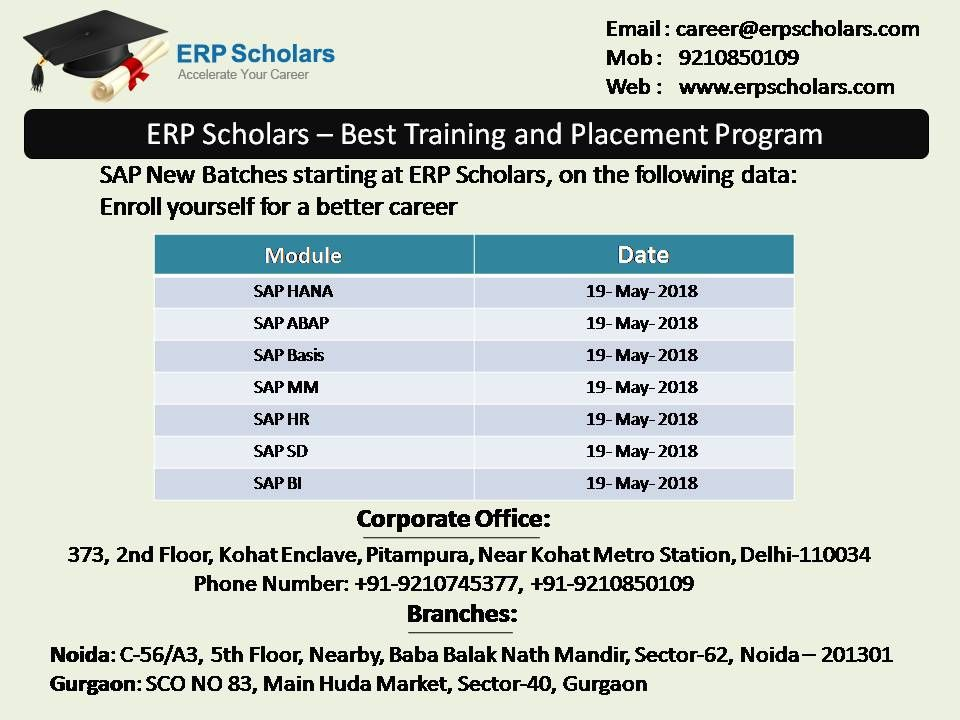 SAP New Batches are starting at #ERP #Scholars  Contact us