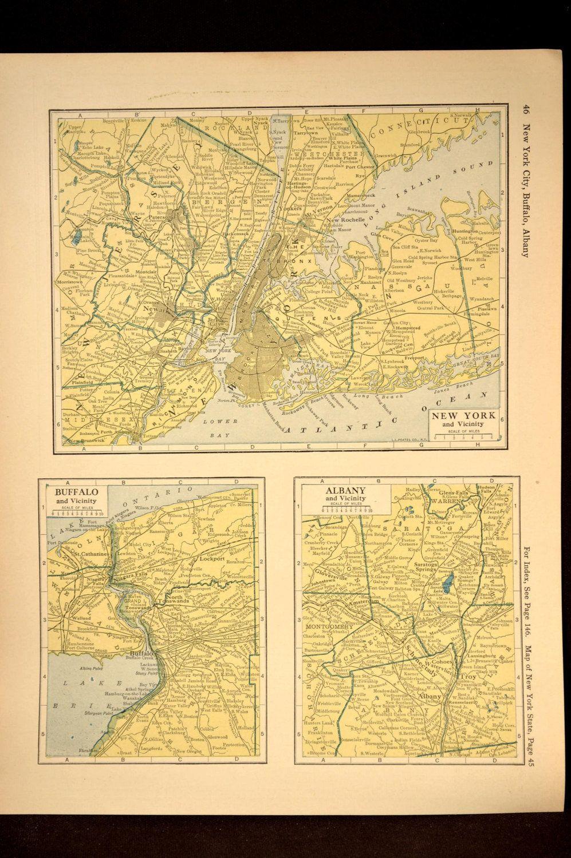 New York City Map Of Buffalo Map Of Albany Map Wall Art
