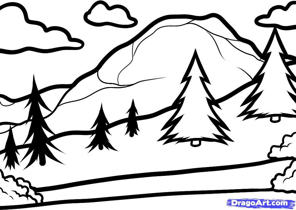 how to draw a landscape for kids step 4
