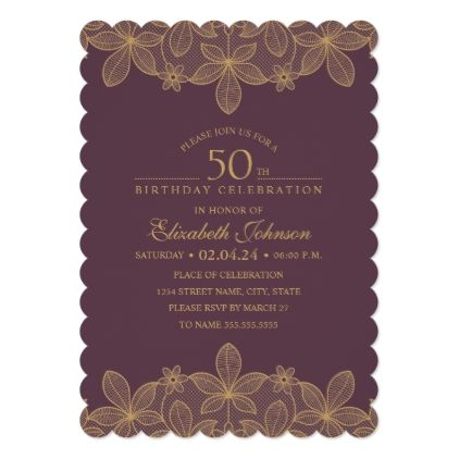 Wine Red 50th Birthday Party Unique Golden Lace Card invitations – Birthday Rsvp Cards