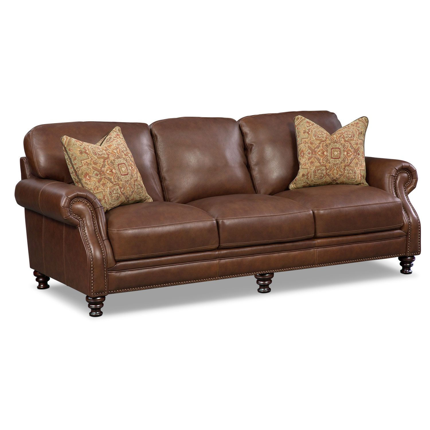 Living Room Furniture Carrington Tobacco Sofa