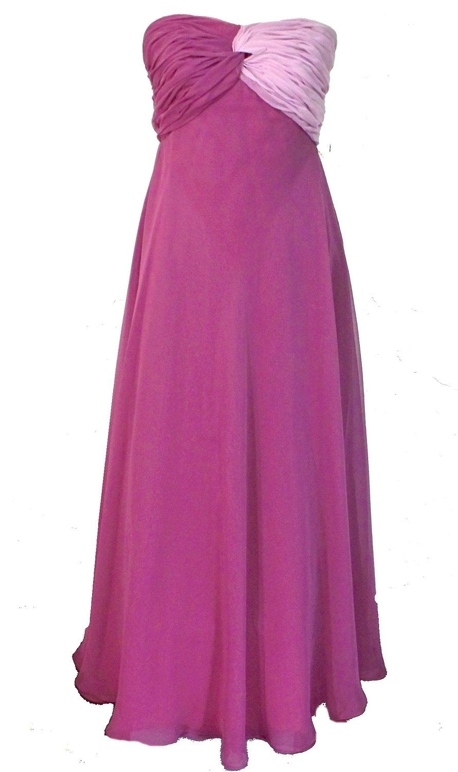Lord & Taylor label , Vintage 70s, long strapless chiffon evening ...