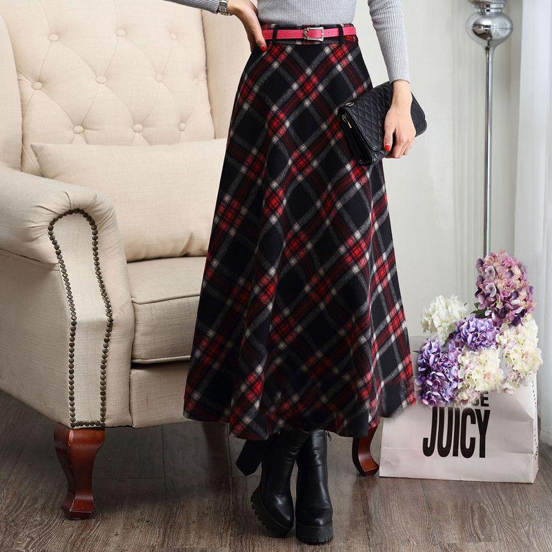 Outono inverno mulheres saias de lã xadrez saia plissada retro longa maxi  saias longas femininas 2015 dbf7d99977d