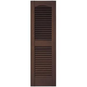 Builders Edge 12 In X 39 In Louvered Vinyl Exterior Shutters Pair 009 Federal Brown 010120039009 At The Home Shutters Exterior Vinyl Exterior Builders Edge
