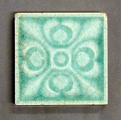 Craven Dunnill Relief Moulded Dust Pressed Tile Four Fold Pattern Of Fleurs De Lys Monochrome Glazed 3 Sq C1900
