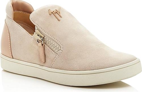 0722703a09a Giuseppe Zanotti Women s Shoes in Pink Beige Color. Giuseppe Zanotti  Brekmoc Double Zip Slip-On Sneakers
