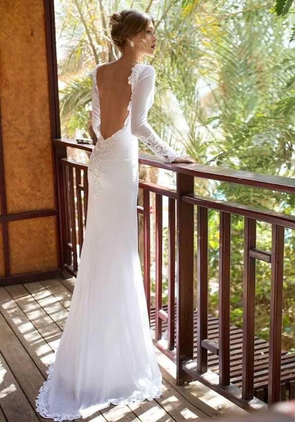 saten sırt dekolteli işlemeli düz dar gelinlik modeli | Wedding ...