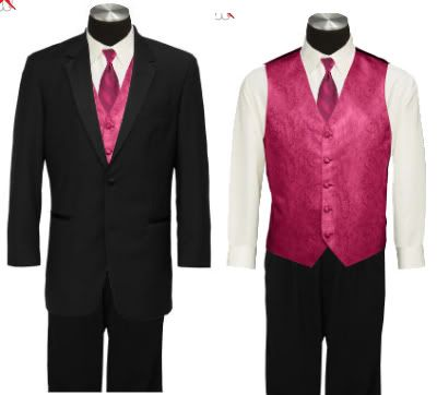 pink vest and tie, black tux | You wear white..and I'll ...