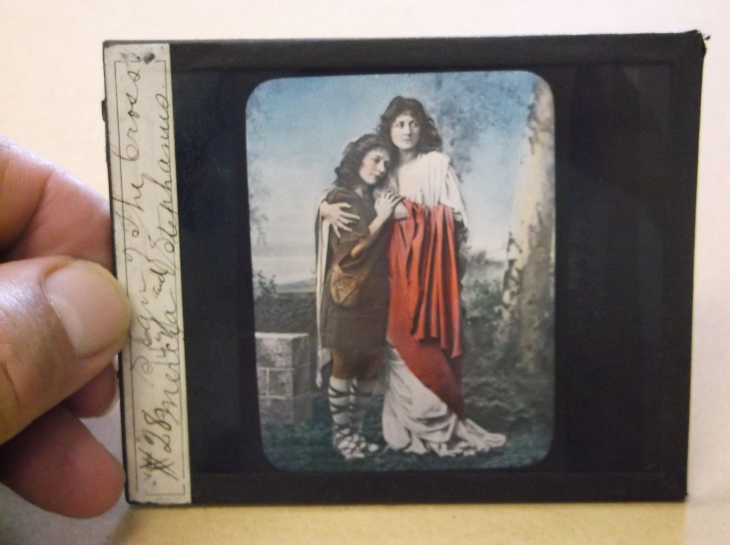 "Vintage ""Sign of The Cross"" Glass Slide,Color Glass Slide by russnmt on Etsy"