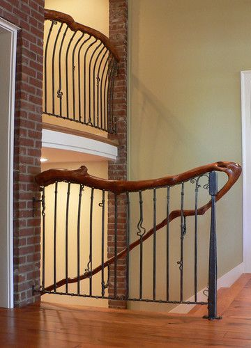 Best Whimsical Natural Iron And Wood Railing Wood Railing 640 x 480