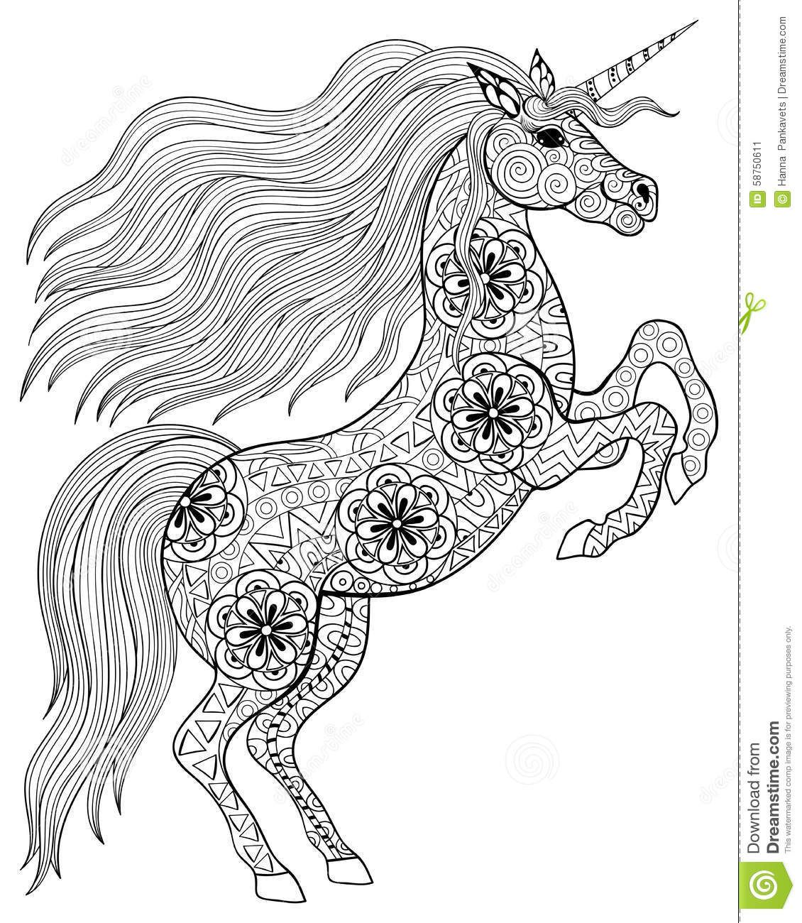 Magical unicorn coloring pages - Hand Drawn Magic Unicorn For Adult Anti Stress Coloring Page Wit Download From Over 37