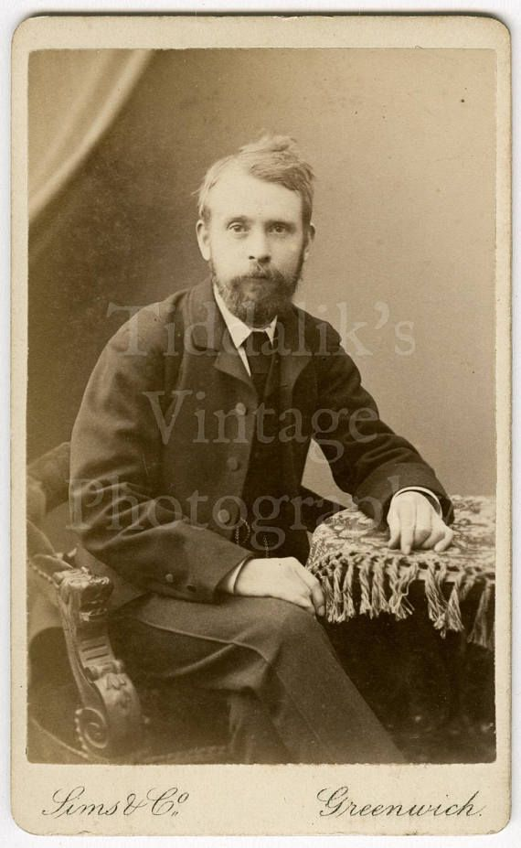 CDV Carte De Visite Photo Victorian Handsome Bearded Young Man Portrait By Sims Co Of London England