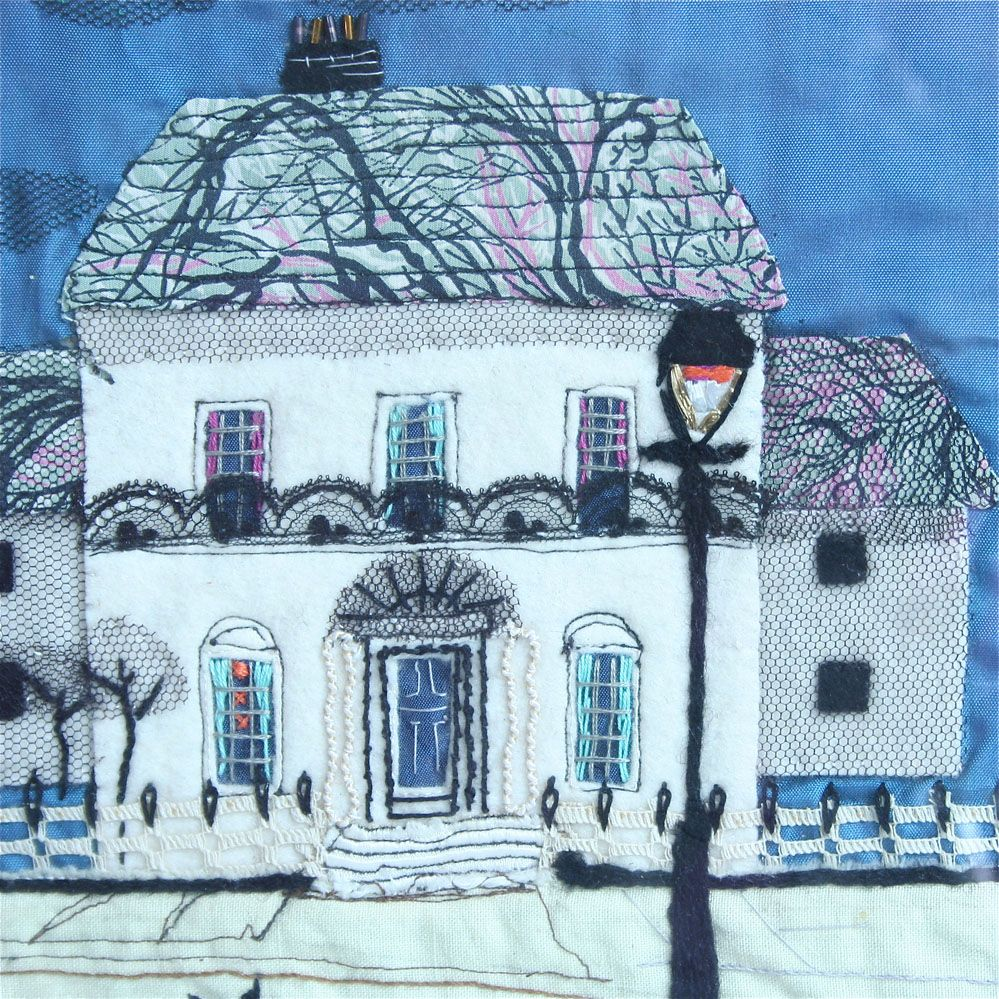 Vintage Fabric House Collage Sewing Art Fabric Art Art Quilts