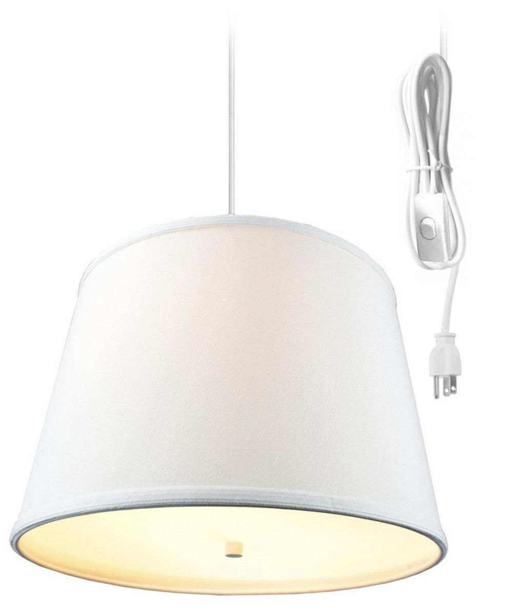 0-001347>Light Oatmeal 2 Light Swag Plug-In Pendant with Diffuser
