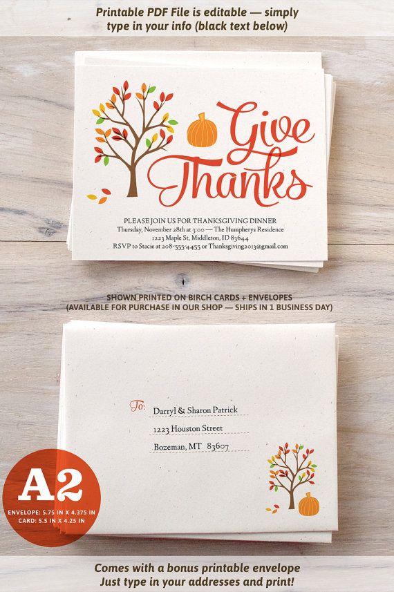 Thanksgiving Invitations   DIY Printable Card & Envelope   If I was ...