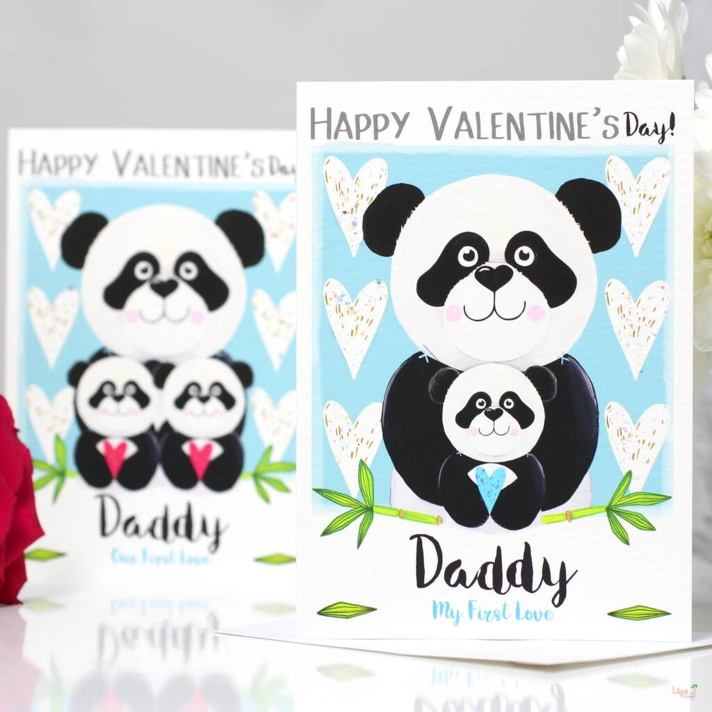 Personalised Panda Daddy Valentine S Card In