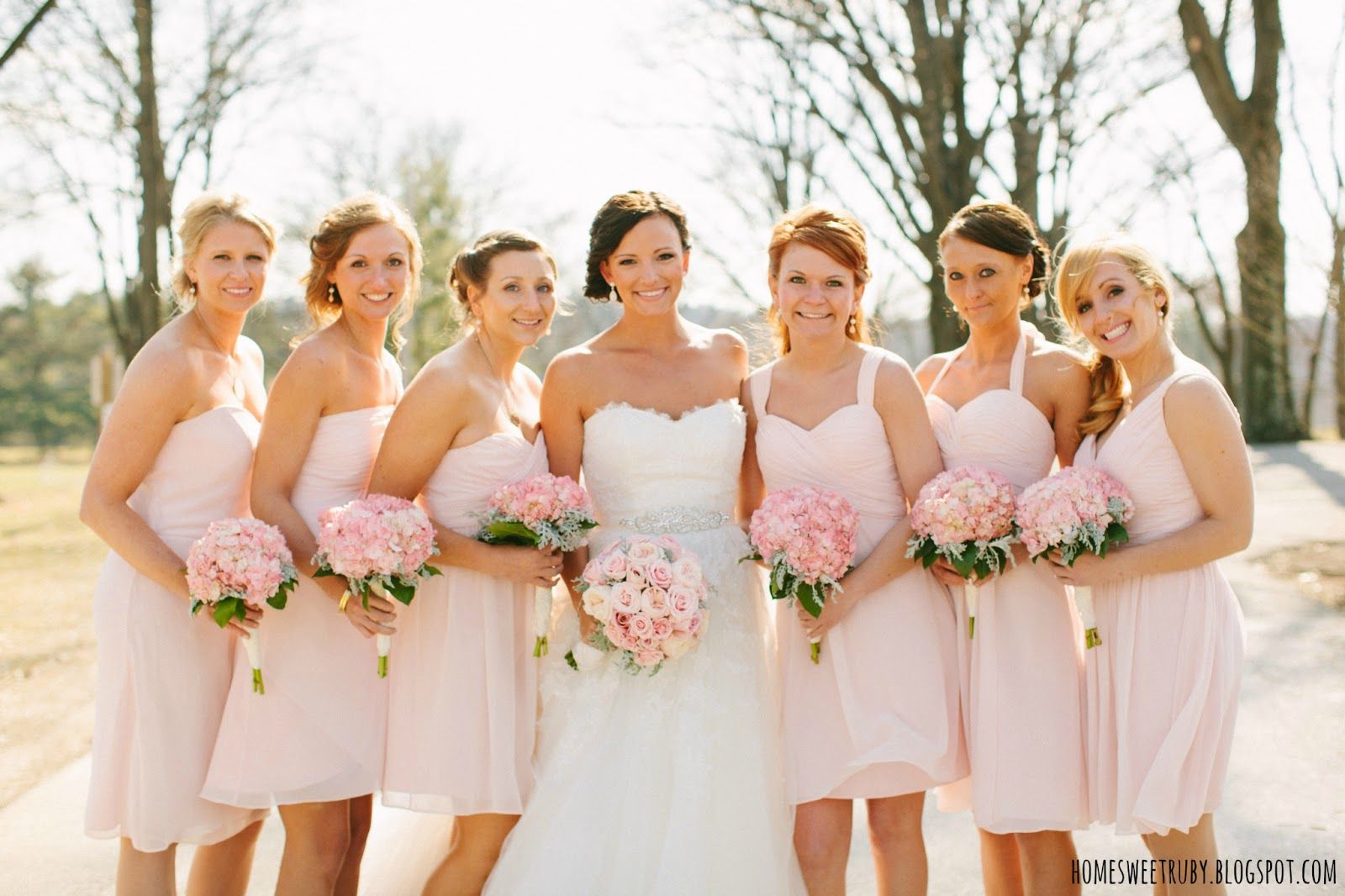 Bill levkoff chiffon bridesmaids dresses each a different style bill levkoff chiffon bridesmaids dresses each a different style hydrangea blush pink ombrellifo Choice Image