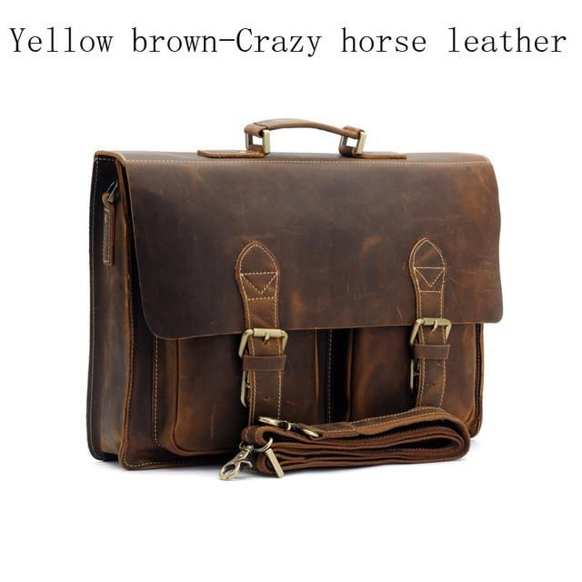 484cbbbd7e74 Mens Retro Leather Multi-Pocket 15 Inch Cowhide Briefcases ...
