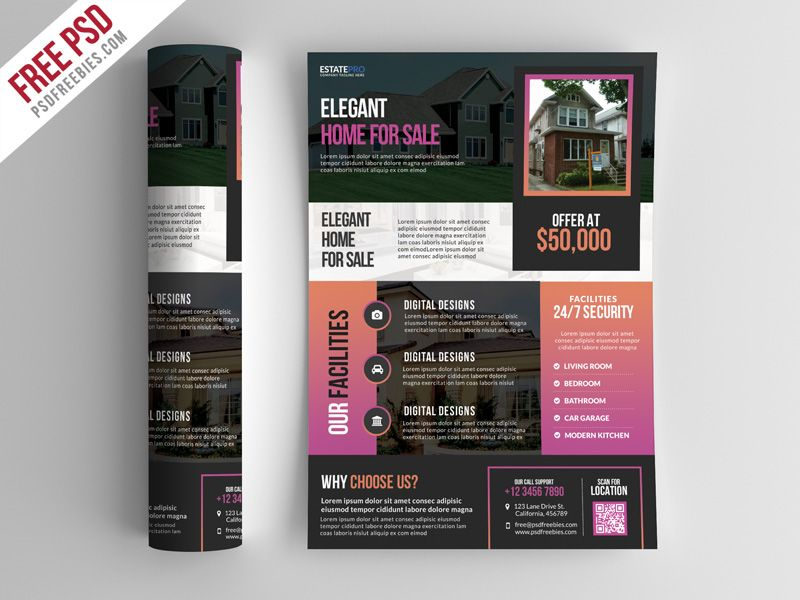 Real Estate Flyer Template Psd Psd Print Template Pinterest