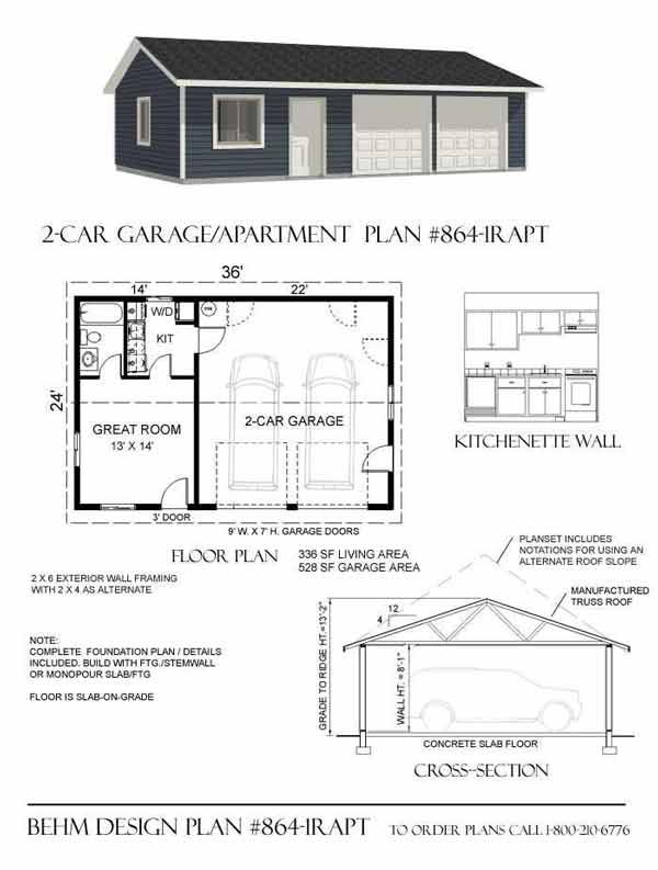 2 car garage with apartment plan 864 1rapt 36 x 24 39 by for Garage apartment plans with kitchen