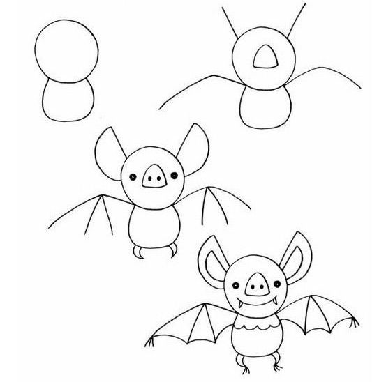 Yarasa Nasil Cizilir Draw Drawings Halloween Drawings Ve