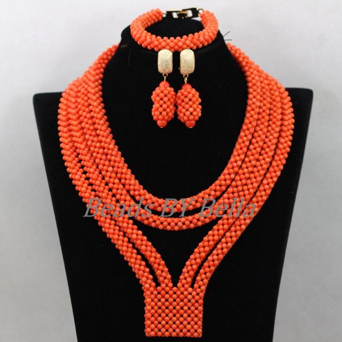 handmade african costume jewelry sets orange coral nigerian wedding beads bridal jewelry statement necklace free shipping