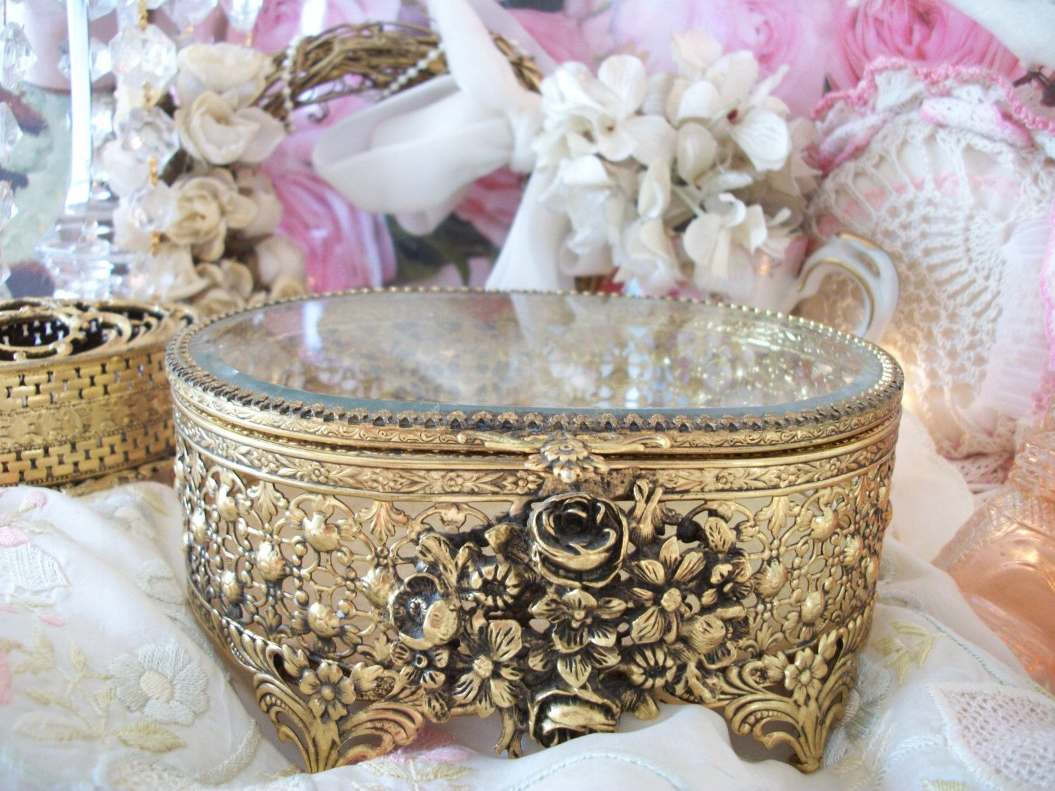 Vintage gold filigree footed oval jewelry box, ornate roses, flower feet…