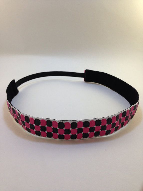 Hot Pink & Black polkadots non-slip headband for everyday and active wear on Etsy, $8.00